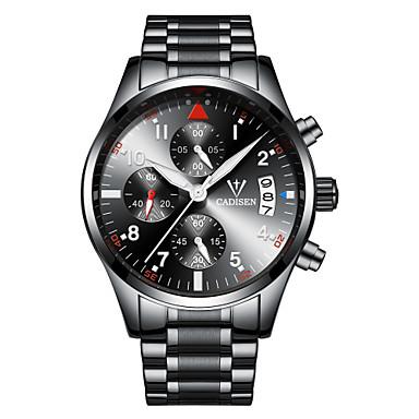 622308bd8 CADISEN Homens Relógio Esportivo Relógio de Pulso Quartzo Aço Inoxidável  Preta / Prata 30 m Impermeável Calendário Cronógrafo Analógico Casual  Fashion ...