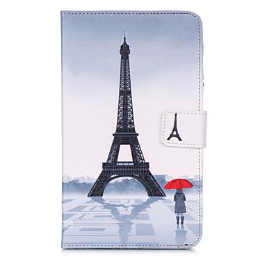 voordelige Samsung Tab-serie hoesjes / covers-hoesje Voor Samsung Tab 4 7.0 Portemonnee / Kaarthouder / met standaard Volledig hoesje Eiffeltoren Hard PU-nahka