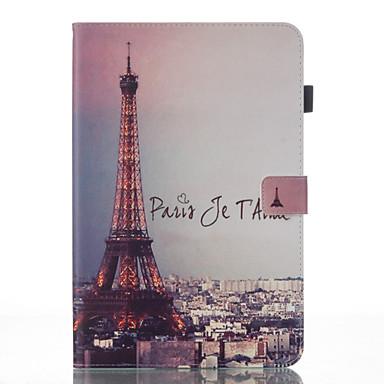 voordelige Samsung Tab-serie hoesjes / covers-hoesje Voor Samsung Galaxy Tab A 10.1 (2016) Portemonnee / met standaard / Flip Volledig hoesje Eiffeltoren Hard PU-nahka