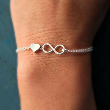 cheap Bracelets-Women's Chain Bracelet Charm Bracelet Twisted Heart Love Infinity Dainty Ladies Simple Unique Design Basic Alloy Bracelet Jewelry Gold / Silver For Party Gift Daily Casual