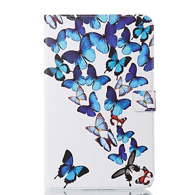 voordelige Samsung Tab-serie hoesjes / covers-hoesje Voor Samsung Galaxy Tab E 9.6 Portemonnee / met standaard / Flip Volledig hoesje Vlinder Hard PU-nahka