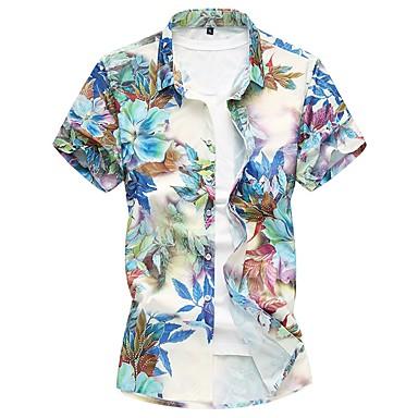رخيصةأون قمصان رجالي-رجالي قطن قميص, ورد / كم قصير / الربيع / الصيف
