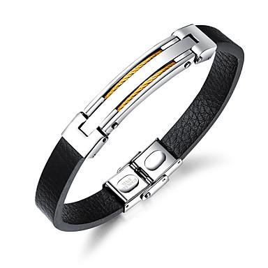 voordelige Heren Armband-Heren Bangles ID-armband Lederen armbanden Modieus Leder Armband sieraden Goud / Zwart / Zilver Voor Dagelijks Uitgaan