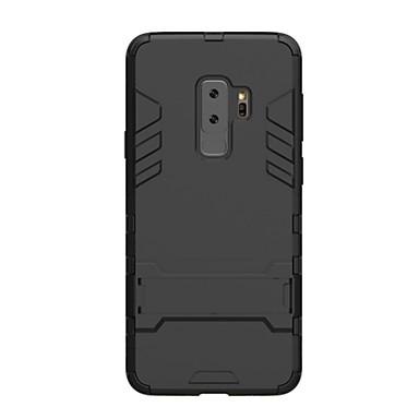 Недорогие Чехлы и кейсы для Galaxy S-Кейс для Назначение SSamsung Galaxy S9 / S9 Plus Защита от удара / со стендом Кейс на заднюю панель Сплошной цвет Твердый ПК