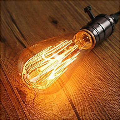 abordables LED e Iluminación-1pc 60 W E26 / E27 ST64 Blanco Cálido 2200-2300 k Retro / Regulable / Decorativa Bombilla incandescente Vintage Edison 220-240 V