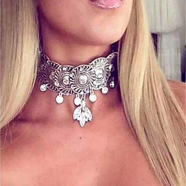 billige Mode Halskæde-Dame Kort halskæde Damer Vintage Mode Overdimensionerede Simuleret diamant Legering Guld Sølv 37 cm Halskæder Smykker Til Natklub Bar