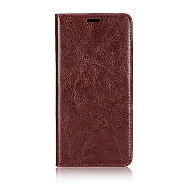 Недорогие Чехлы и кейсы для Xiaomi-Кейс для Назначение Xiaomi Mi 6 Plus Бумажник для карт / со стендом / Флип Чехол Однотонный Твердый Настоящая кожа
