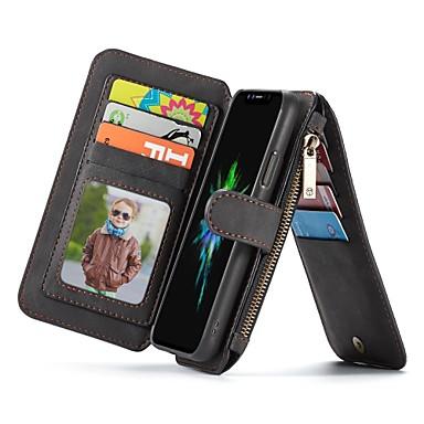 Недорогие Кейсы для iPhone 7 Plus-Кейс для Назначение Apple iPhone XS / iPhone XR / iPhone XS Max Кошелек / Бумажник для карт / Флип Чехол Однотонный Твердый Настоящая кожа