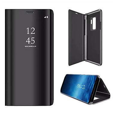Недорогие Чехлы и кейсы для Galaxy S-Кейс для Назначение SSamsung Galaxy S9 / S9 Plus / S8 Plus со стендом / Покрытие / Зеркальная поверхность Чехол Однотонный Твердый Кожа PU