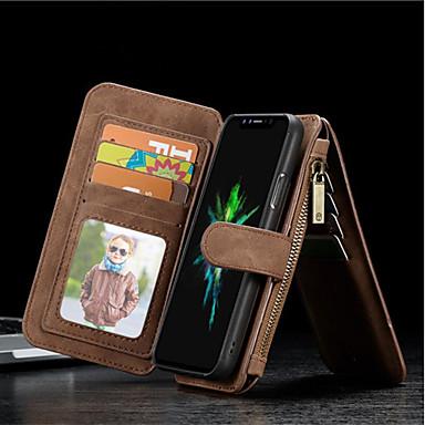 Недорогие Кейсы для iPhone-Кейс для Назначение Apple iPhone X / iPhone 8 Pluss / iPhone 8 Кошелек / Бумажник для карт / Защита от удара Чехол Однотонный Твердый Настоящая кожа