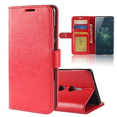 Недорогие Чехлы и кейсы для Sony-Кейс для Назначение Sony Xperia XZ2 Compact / Xperia XZ2 / Xperia XA2 Ultra Кошелек / Бумажник для карт / со стендом Чехол Однотонный Твердый Кожа PU