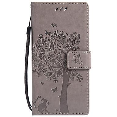 Недорогие Чехлы и кейсы для Sony-Кейс для Назначение Sony Sony Xperia Z5 Premium / Sony Xperia Z5 / Z5 Mini Кошелек / Бумажник для карт / со стендом Чехол Кот / дерево Твердый Кожа PU