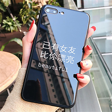 voordelige iPhone-hoesjes-hoesje Voor Apple iPhone X / iPhone 8 Plus / iPhone 8 Patroon Achterkant Woord / tekst Hard Gehard glas