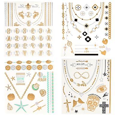 olcso Ideiglenes tetoválás-4 pcs Tetkó matricák ideiglenes tetoválás Totem sorozat / Ékszer-sorozat Vízálló Body Arts Karosszéria / kezek / kar