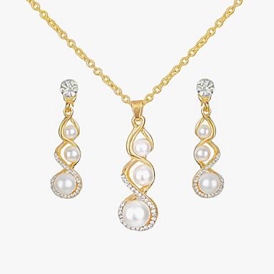 رخيصةأون أطقم المجوهرات-نسائي مجموعة مجوهرات 3 حجر قرع نبات سيدات أوروبي موضة الأقراط مجوهرات ذهبي من أجل فضفاض