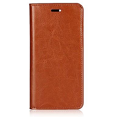 Недорогие Чехлы и кейсы для Xiaomi-Кейс для Назначение Xiaomi Xiaomi Mi 6 Бумажник для карт / со стендом / Флип Чехол Однотонный Твердый Настоящая кожа