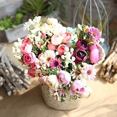 زهور اصطناعية 1 فرع Wedding Flowers النمط الرعوي الورود أزهار الطاولة