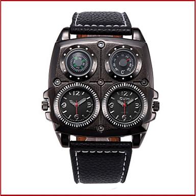 Недорогие Часы на кожаном ремешке-Oulm Муж. Для пары Повседневные часы Модные часы Кварцевый На каждый день Защита от влаги Аналоговый Белый Черный Коричневый / Кожа / Компас / С двумя часовыми поясами / Steampunk