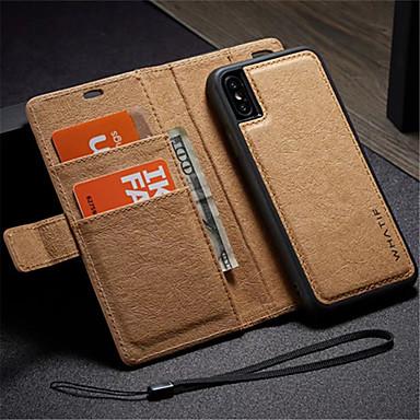 voordelige iPhone-hoesjes-hoesje Voor Apple iPhone X / iPhone 8 Plus / iPhone 8 Portemonnee / Kaarthouder / met standaard Volledig hoesje Effen Hard PU-nahka / DHZ