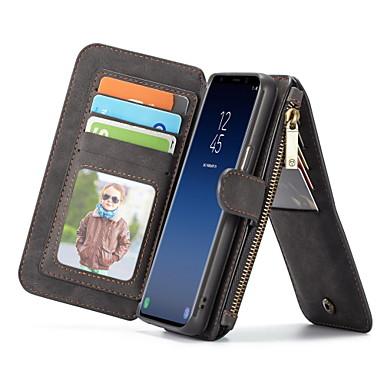 Недорогие Чехлы и кейсы для Galaxy S-Кейс для Назначение SSamsung Galaxy S9 Кошелек / Бумажник для карт / со стендом Чехол Сплошной цвет Твердый Настоящая кожа