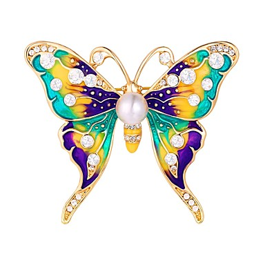 cheap Brooches-Women's Brooches Butterfly Animal Ladies Sweet Brooch Jewelry Silver Golden For Daily Date