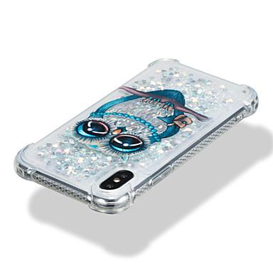 voordelige iPhone-hoesjes-hoesje Voor Apple iPhone X / iPhone 8 Plus / iPhone 8 Schokbestendig / Stromende vloeistof / Patroon Achterkant dier / Uil / Glitterglans Zacht TPU