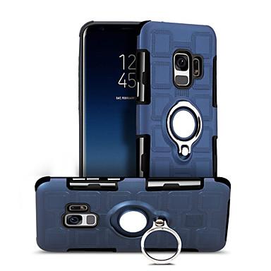 رخيصةأون حافظات / جرابات هواتف جالكسي S-غطاء من أجل Samsung Galaxy S9 / S9 Plus / S8 Plus ضد الصدمات / حامل الخاتم غطاء خلفي نموذج هندسي قاسي الكمبيوتر الشخصي