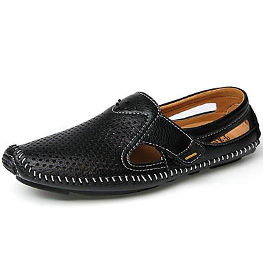 Недорогие Мужские сандалии-Муж. Официальная обувь Наппа Leather Весна лето Деловые / На каждый день Башмаки и босоножки Черный / Синий / Коричневый