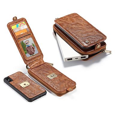 voordelige iPhone-hoesjes-hoesje Voor Apple iPhone X Portemonnee / Kaarthouder / Schokbestendig Volledig hoesje Effen Hard aitoa nahkaa