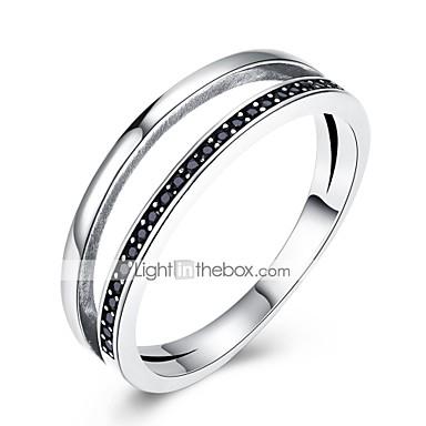 olcso Karikagyűrűk-Női Band Ring Kocka cirkónia Ezüst Cirkonium S925 ezüst Geometric Shape hölgyek Klasszikus Vintage Napi Munka Ékszerek