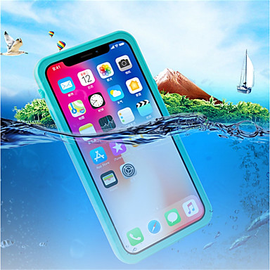 voordelige iPhone-hoesjes-hoesje Voor Apple iPhone X Waterbestendig / Schokbestendig / Doorzichtig Volledig hoesje Effen Hard Muovi