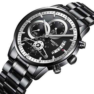 Недорогие Часы на металлическом ремешке-Муж. Армейские часы Авиационные часы Роскошь Календарь Аналоговый Черный / Серебристый Белый Черный / Два года / Нержавеющая сталь / Нержавеющая сталь / Японский / Секундомер