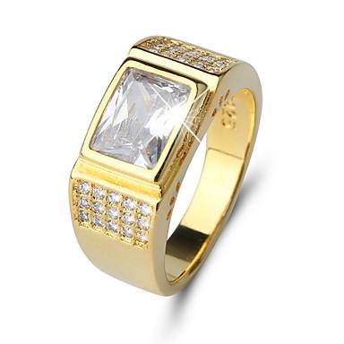 olcso Gyűrűk-Férfi Band Ring Gyémánt Kocka cirkónia Arany Cirkonium Titánium Acél Circle Shape Klasszikus Vintage Elegáns Esküvő Napi Ékszerek