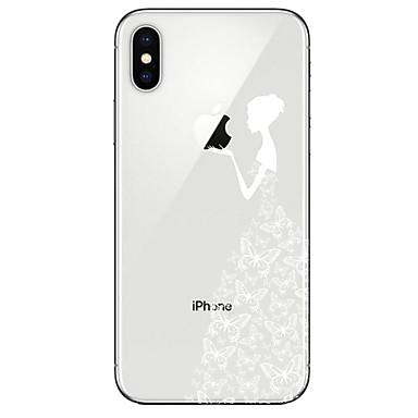 Недорогие Кейсы для iPhone 7-Кейс для Назначение Apple iPhone X / iPhone 8 Pluss / iPhone 8 Прозрачный / С узором Кейс на заднюю панель Бабочка / Соблазнительная девушка Мягкий ТПУ