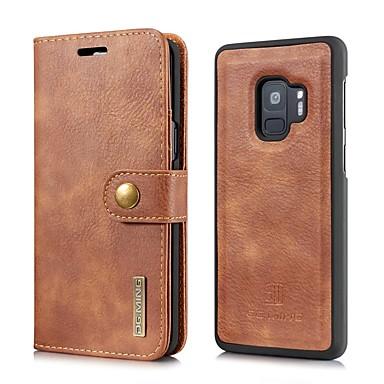 Недорогие Чехлы и кейсы для Galaxy S-Кейс для Назначение SSamsung Galaxy S9 / S9 Plus / S8 Plus Кошелек / Бумажник для карт / Флип Чехол Однотонный Твердый Настоящая кожа