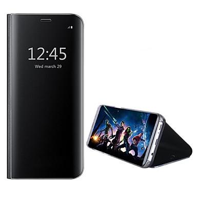 Недорогие Чехлы и кейсы для Galaxy А-Кейс для Назначение SSamsung Galaxy A5(2018) / Galaxy A7(2018) / A8 2018 со стендом / Зеркальная поверхность Чехол Однотонный Твердый Кожа PU