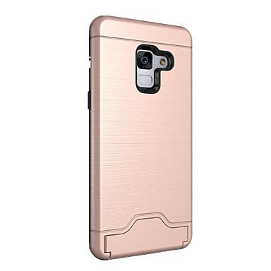 رخيصةأون حافظات / جرابات هواتف جالكسي A-غطاء من أجل Samsung Galaxy A8 2018 حامل البطاقات / مع حامل غطاء خلفي لون الصلبة قاسي الكمبيوتر الشخصي