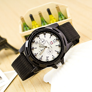 رخيصةأون ساعات الرجال-رجالي كوارتز أسود / أزرق / أخضر غامق ساعة كاجوال مماثل موضة - أزرق داكن أسود / أبيض أخضر غامق