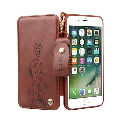 Недорогие Кейсы для iPhone 6-Кейс для Назначение Apple iPhone 8 Pluss / iPhone 8 / iPhone 7 Plus Бумажник для карт / Флип Чехол Цветы Твердый Кожа PU