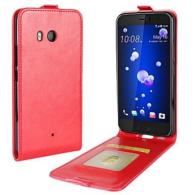 Недорогие Чехлы и кейсы для HTC-Кейс для Назначение HTC HTC U11 plus / HTC U11 Life / HTC U11 Бумажник для карт / Флип Чехол Однотонный Мягкий Кожа PU