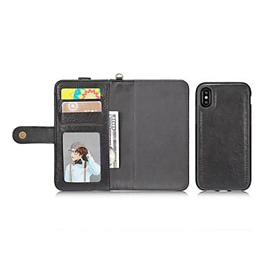 Недорогие Кейсы для iPhone 7-Кейс для Назначение Apple iPhone X / iPhone 8 Pluss / iPhone 8 Кошелек / Бумажник для карт / Защита от удара Чехол Однотонный Твердый Кожа PU
