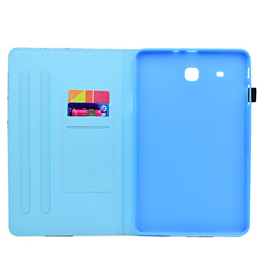 voordelige Samsung-hoes voor tablets-hoesje Voor Samsung Galaxy Tab E 9.6 Kaarthouder / met standaard / Flip Volledig hoesje Cartoon Hard PU-nahka