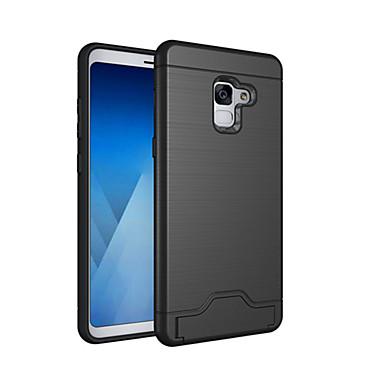 voordelige Galaxy A-serie hoesjes / covers-hoesje Voor Samsung Galaxy A8 2018 / A8+ 2018 Kaarthouder / Schokbestendig / met standaard Achterkant Effen Hard PC
