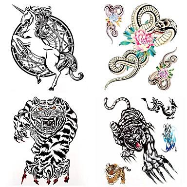 olcso Ideiglenes tetoválás-4 pcs Tetkó matricák ideiglenes tetoválás Állatos sorozatok Vízálló Body Arts Karosszéria / kar