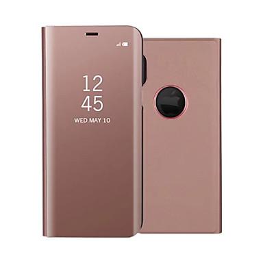 رخيصةأون إكسسوارات سامسونج-غطاء من أجل Samsung Galaxy Note 8 / Note 5 مع حامل / تصفيح / مرآة غطاء كامل للجسم لون سادة قاسي جلد PU