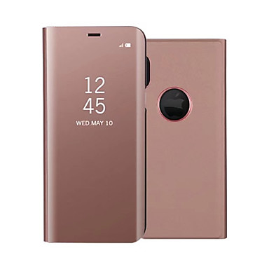 voordelige Galaxy Note-serie hoesjes / covers-hoesje Voor Samsung Galaxy Note 8 / Note 5 met standaard / Beplating / Spiegel Volledig hoesje Effen Hard PU-nahka