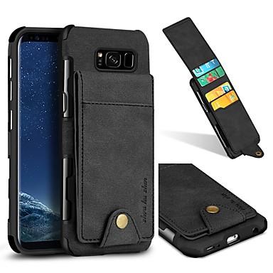 رخيصةأون حافظات / جرابات هواتف جالكسي S-غطاء من أجل Samsung Galaxy S9 / S9 Plus / S8 Plus محفظة / حامل البطاقات / ضد الصدمات غطاء خلفي لون سادة قاسي جلد PU