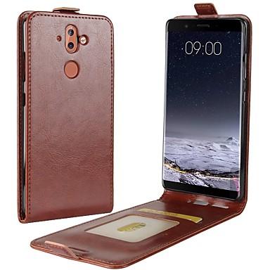 Недорогие Чехлы и кейсы для Nokia-Кейс для Назначение Nokia Nokia 9 / Nokia 8 / Nokia 7 Бумажник для карт / Флип Чехол Однотонный Твердый Кожа PU