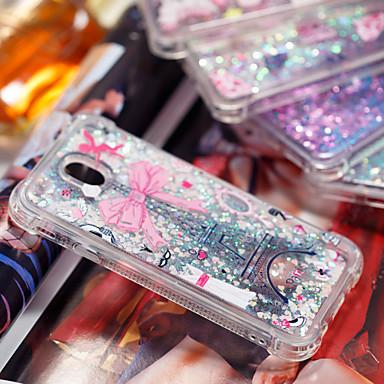 رخيصةأون حافظات / جرابات هواتف جالكسي J-غطاء من أجل Samsung Galaxy J7 (2017) / J7 (2016) / J7 ضد الصدمات / سائل متدفق / نموذج غطاء خلفي برج ايفل / بريق لماع ناعم TPU