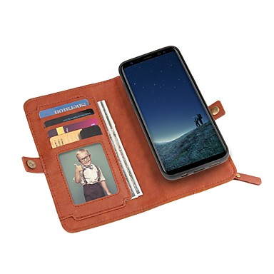 Недорогие Чехлы и кейсы для Galaxy S-Кейс для Назначение SSamsung Galaxy S8 Plus / S8 / S7 edge Кошелек / Бумажник для карт / Защита от удара Чехол Однотонный Твердый Кожа PU